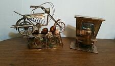 SET OF 2 MUSIC BOXES- COPPER TIN PIANO AND MAN & VINTAG MOTOR BIKE MUSIC BOX