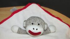 Baby Starters Sock Monkey Baby Security Blanket Rattle white red stitched eyes