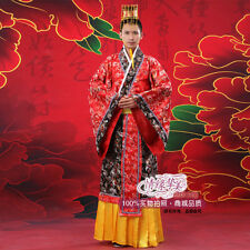 Red Chinese Ancient Man Clothing Emperor Prince Show Cosplay Suit Robe Costume