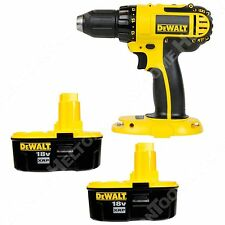 """Dewalt DC720 18V 1/2"""" Compact Drill Driver and Two DC9096 2.4Ah XRP Batteries"""