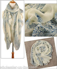 Women Fashion Long  Beige Wrap Lady Shawl Large Cotton Voile Scarf Scarves