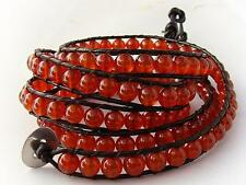 5 Wrap Bracelet 6mm RED AGATE  beads,  leather fashion bracelet