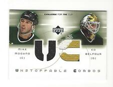 2001-02 UD MIKE MODANO ED BELFOUR GAME-USED JERSEY PATCH #UC-MB DALLAS STARS