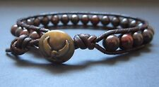 Mens Therapy Brown Leather Bloodstone Surf Sports Bracelet Eagle