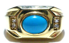 SIZE 10.75 MENS HEAVY 14K YELLOW GOLD PERSIAN TURQUOISE DIAMOND RING BAND