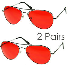 2 Pairs Mens Retro Classic Metal Aviator Red Lens UV Sunglasses Spring Hinge