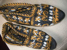 RAR: Hausschuhe Hüttenschuhe handgestrickt exkl.alte Muster Sohlenlänge 22 cm