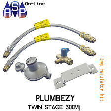 PLUMBEZY LPG REGULATOR KIT TWIN 2 STAGE UP TO 300MJ SUITS CARAVAN AND HOME USE
