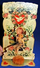 Antique 3-Layer Die Cut Pop Up Fold Out Valentine's Day Card With Cherub