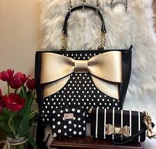 NEW! Betsey Johnson GOLD BOW TOTE, WALLET  & COIN Purse 3 PC SET - RETAILS $300!