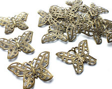 15 x Bronze Filigree Butterfly Embellishment Charm Decoration Craft Scrapbooking