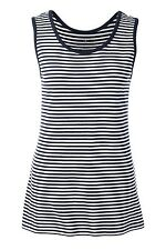 Lands End -  Womens XL (18) - Navy Blue/White Striped Cotton Knit Tank Top
