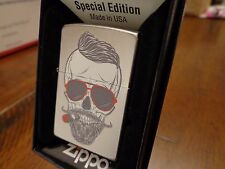 HIPSTER SKULL SMOKING CIGAR ZIPPO LIGHTER MINT IN BOX