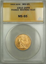 1910 Restrike Year France 20 Fr Francs Gold Coin ANACS MS-65