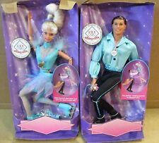 2 Olympic USA Skaters Barbie & Ken Dolls Skate & Spin For Gold Medal Box Wears