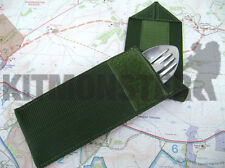 Olive Green Velcro Closed Slip Cover Case Pouch for Knife Fork & Spoon KFS Set