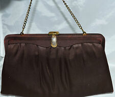 Vintage Joseph Magnin Dark Brown Cluch Evening Bag with Fold In Chain Handle