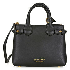 Burberry The Baby Banner Leather and House Check Tote - Black