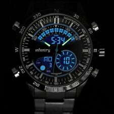 INFANTRY MENS DIGITAL QUARTZ WRIST WATCH CHRONOGRAPH SPORTS ARMY STAINLESS STEEL