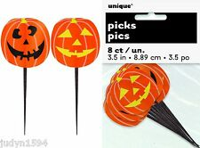 PACK OF 8 HALLOWEEN PUMPKIN CUPCAKE FOOD PICKS TOPPERS JACK O LANTERN CUTOUTS