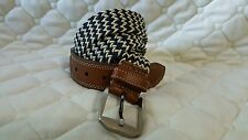Martin Dingman Countrywear Leather And Canvas Basket Woven Belt 36 in / 90 cm