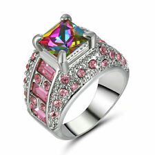 Size 8 Princess Cut Mystic Rainbow Topaz Engagement Ring Silver Plated Party