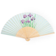 Light Green Iris Japanese Folding Fan