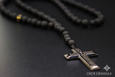 Men's Cross Pendant Black Onyx Rosary Beaded Necklace Gemstone Prayer's Jewelry