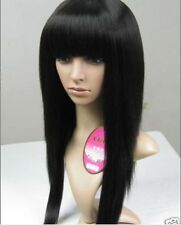 Hot Sell! 2015 New women girl Black Long Fluffy straight Cosplay Wigs + wig cap