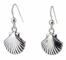 Pair of SEASHELL EARRINGS 925 Sterling SILVER 28mm Drop Ladies Scallop Sea Shell