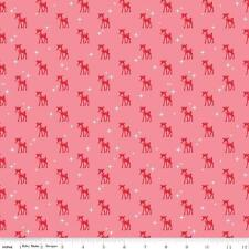 Cozy Christmas Quilting Fabric Riley Blake Lori Holt Reindeer Pink Red By 1/2Y