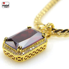 New Men's Micro Mini Baby Red Ruby Pendant Miami Cuban Necklace BCH 11174