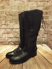 Ladies Clarks Black Leather Zip Up Laced Back Low Heel Long Boots UK 5.5 EU 39