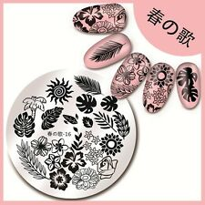 Harunouta-16 Round Nail Art Stamping Image Plate Hawaii Plant Design Template