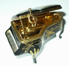 LIMOGES BOX - BLACK GRAND PIANO & GOLD FLOWERS - MUSIC BOOK - PIERRE ARQUIE