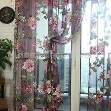 Wine red Flower Voile Door Window Curtain Panel Sheer Tulle Drape Valance