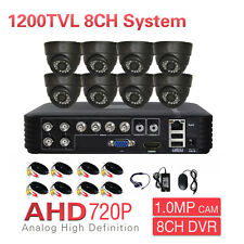 CCTV AHD Hybrid DVR 720P HD 1200TVL Day Night 8CH Indoor Security Camera System