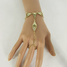 New Women Hot Silver / Gold Metal Classic Bracelet Hand Chain Fashion Slave Ring