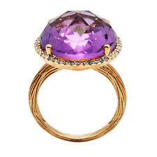 14K ROSE GOLD DIAMOND PINK AMETHYST 13C HALO ENGAGEMENT COCKTAIL STATEMENT RING