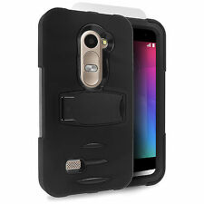 LG Leon 4G LTE C40 / H340N Hard Phone Case Cover with Kickstand + Screen Black