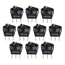 Lot 10 HOTSYSTEM Rocker Dot Toggle SPST Switch Green LED On-Off Control US