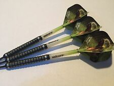22g Black T-Rex 90% Tungsten Darts Set, Unicorn Gripper Stems, T-Rex Flights
