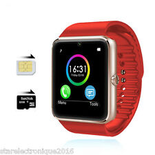 SMARTWATCH MONTRE CONNECTE BLUETOOTH 3G ANDROID IPHONE MONTRE CONNECTEE ROUGE OR