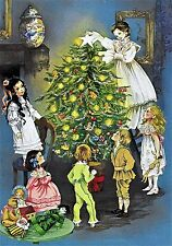 Victorian Family by CHRISTMAS Tree Children Doll Teddy Vintage MATTED PICTURE
