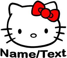 1 LARGE PERSONALISED HELLO KITTY FACE IRON T SHIRT TRANSFERS LIGHT FABRICS-GIFT