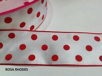 CHRISTMAS WIRE EDGED RIBBON - RED POLKA DOT