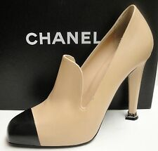 Chanel Classic CC Logo Leather Cap Toe Platform Heels Pumps Loafers Shoes 40
