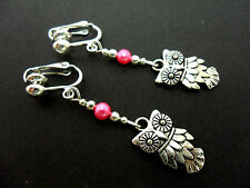A PAIR OF  TIBETAN SILVER DANGLY OWL & PINK BEAD  CLIP ON EARRINGS. NEW.