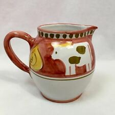 "Solimene Vietri 5.5"" Tall Ceramic Pitcher, Cows, Made in Italy"