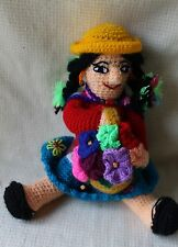 "LOVELY 11"" Crochet Artesanias Medina 100% Cotton Peru Girl Doll    EUC!!"